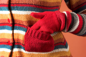 details colorful sweater and pocket in closeup